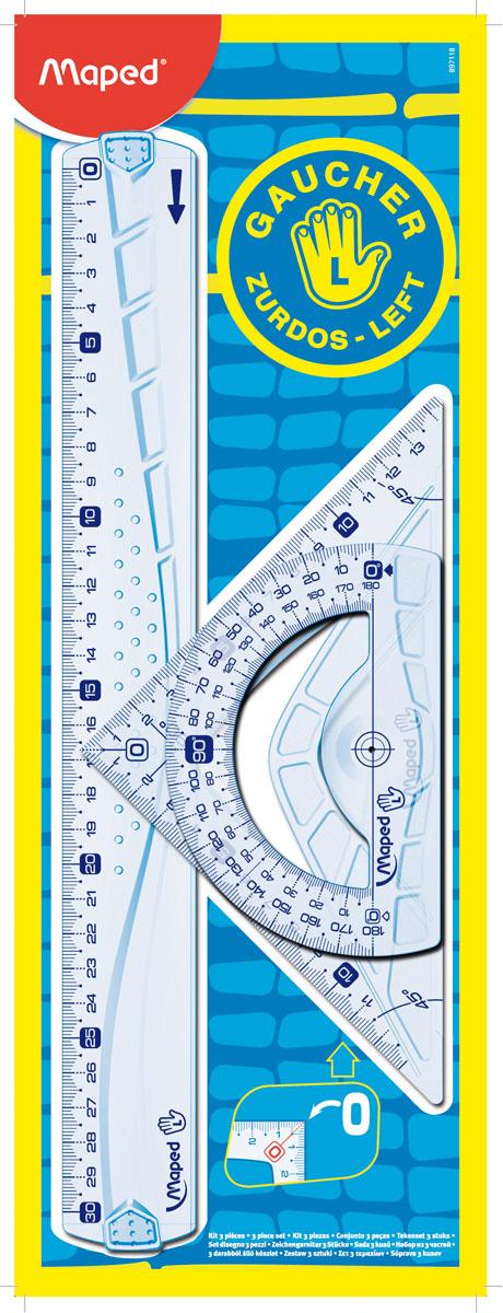 Набор геометрический Maped Геометрик, для левшей, 3 предмета897118Геометрический набор Maped Геометрик для левшей, выполненный из прозрачного пластика сиреневого цвета содержит все, что может понадобиться ученику на уроках математики. Набор состоит из трех предметов: линейки на 30 сантиметров, транспортира на 180° и угольника. Угольник имеет углы 45, 45, 90 градусов и линейку на 14,5 сантиметров. Каждый чертежный инструмент имеет свои функциональные особенности, ориентированные специально на левшей. Характеристики: Материал: пластик. Размер упаковки: 13 см х 36 см х 0,6 см. Изготовитель: Китай.