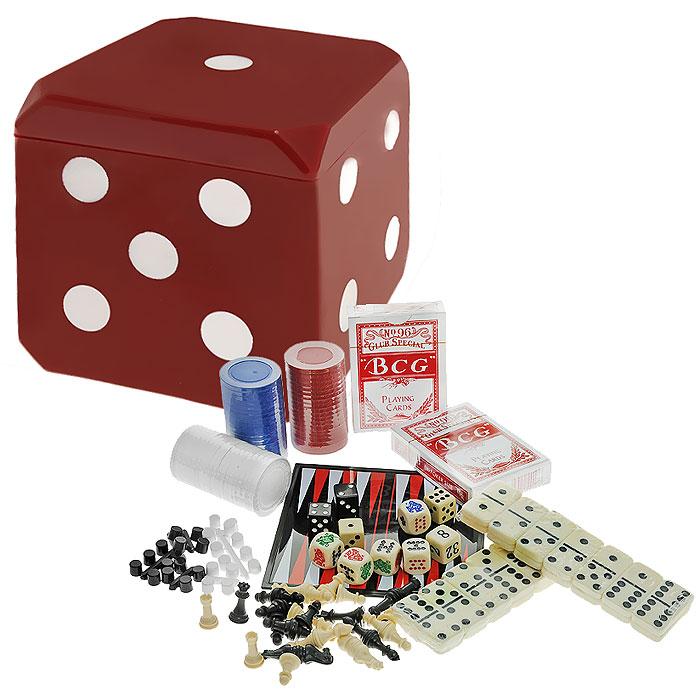 Игровой набор 6 в 1 Magnetic Game Cube, магнитный. MG9044MG9044Игровой набор 6в1 Magnetic Game Cube включает следующие игры: шахматы, шашки, нарды, домино, покер, кости. В наборе имеется 28 фишек для игры в домино; 2 колоды карт, 60 фишек без номинала (20 красных, 20 синих, 20 белых); двухстороннее игровое поле для шахмат и шашек и для нард; шахматные фигуры, фишки и 10 игральных кубиков. Шахматные фигуры и шашки надежно крепятся на поле в определенном положении благодаря магнитам. Предметы набора хранятся в пластиковом кубе красного цвета, выполненном в виде игральной кости. Это настоящая игротека, с помощью которой вы можете поиграть в ваши любимые игры. Выбирайте любую игру на ваш вкус и ваше предпочтение. Эти игры помогут развить логическое мышление и позволят вам интересно и с пользой провести время. Набор имеет очень компактный размер. Возьмите его с собой в дорогу или на отдых и отличное времяпрепровождение вам гарантировано! Размер колоды карт: 6,5 см х 9 см х 1,8 см. Диаметр фишки для...