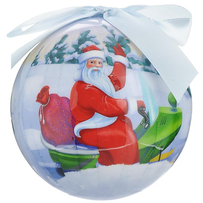 Елочное украшение Шар. Новогодний, диаметр 10 см. 2025020250Оригинальное подвесное украшение Шар. Новогодний прекрасно подойдет для праздничного декора новогодней ели. Украшение, выполненное из пластмассы, оформлено красочным изображением Деда мороза и веселых зверят. Благодаря плотному корпусу изделие никогда не разобьется, поэтому вы можете быть уверены, что оно прослужит вам долгие годы. С помощью атласной ленточки голубого цвета украшение можно повесить на праздничную елку. Елочная игрушка - символ Нового года. Она несет в себе волшебство и красоту праздника. Создайте в своем доме атмосферу веселья и радости, украшая новогоднюю елку нарядными игрушками, которые будут из года в год накапливать теплоту воспоминаний.