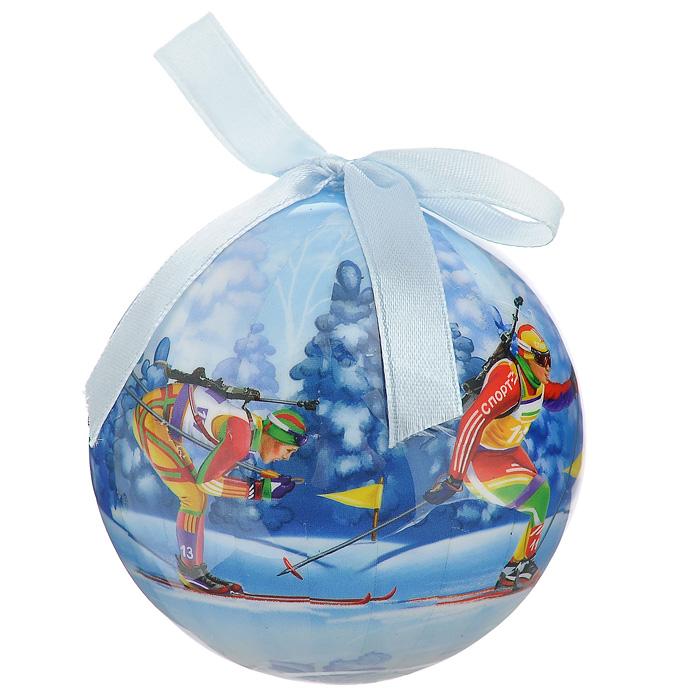 Елочное украшение Шар. Биатлон, диаметр 10 см. 2034920349Оригинальное подвесное украшение Шар. Биатлон, выполненное из пластмассы, прекрасно подойдет для праздничного декора новогодней ели. Благодаря плотному корпусу изделие никогда не разобьется, поэтому вы можете быть уверены, что оно прослужит вам долгие годы. С помощью атласной ленточки голубого цвета украшение можно повесить на праздничную елку. Елочная игрушка - символ Нового года. Она несет в себе волшебство и красоту праздника. Создайте в своем доме атмосферу веселья и радости, украшая новогоднюю елку нарядными игрушками, которые будут из года в год накапливать теплоту воспоминаний.