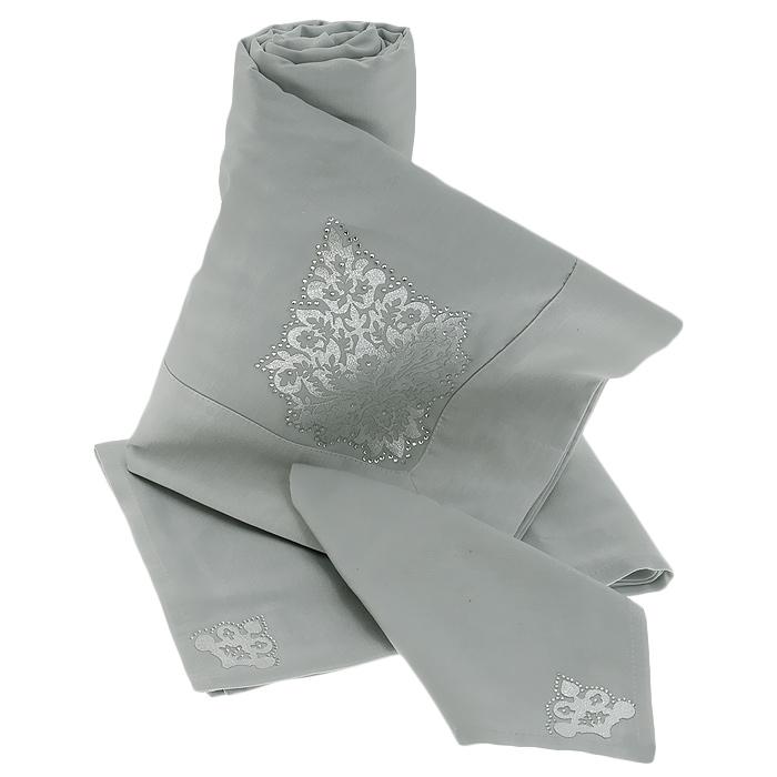 Комплект столовый Унисон Parisel, цвет: ментоловый, 7 предметов207763Роскошный комплект столового белья Унисон Parisel состоит из скатерти прямоугольной формы и 6 квадратных салфеток. Комплект выполнен из смешанной ткани ментолового цвета с легкой изысканной фактурой и антигрязевым покрытием. Волокна ткани имеют легкий металлический глянец. Скатерть и салфетки оформлены изящными нашивками серебристого цвета и стразами Сваровски. Крепление страз эластичное и надежное. Выдерживает до 300 стирок. Комплект, несомненно, придаст интерьеру уют и внесет что-то новое, а также станет отличным подарком на новоселье. Использование такого комплекта сделает застолье более торжественным, поднимет настроение гостей и приятно удивит их вашим изысканным вкусом. Вы можете использовать этот комплект для повседневной трапезы, превратив каждый прием пищи в волшебный праздник и веселье.