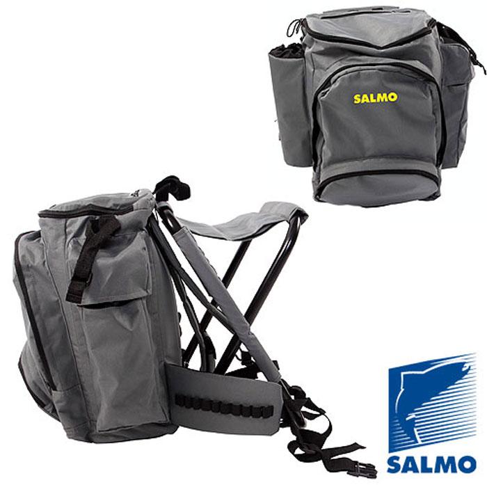 Стул-рюкзак Salmo Back Pack с карманом на молнииH-2066Функциональный и удобный рюкзак с раскладным стулом в комплекте Salmo Back Pack - это необходимый атрибут для рыбалки и, конечно же, путешествий. Легкий раскладной стул для рыбаков со специальной конструкцией позволяет использовать его на неровной поверхности. Стул изготовлен из легкой, прочной стальной рамы. Он удобно крепится к спинке рюкзака (от рюкзака не отстегивается). Удобная анатомическая спина и плечевые ремни - одно из преимуществ данной модели рюкзака. Плечевые ремни снабжены утягивающими застежками. Рюкзак состоит из основного отделения, которое затягивается на молнию, карманов по бокам, передний карман, который закрываются на молнию. Модель без разгрузочного пояса. Характеристики: Материал: металл, пластик, полиэстер. Цвет: серый. Высота стула: 47 см. Размер рюкзака: 50 см х 36 см х 20 см. Размер упаковки: 58 х 45 х 12.