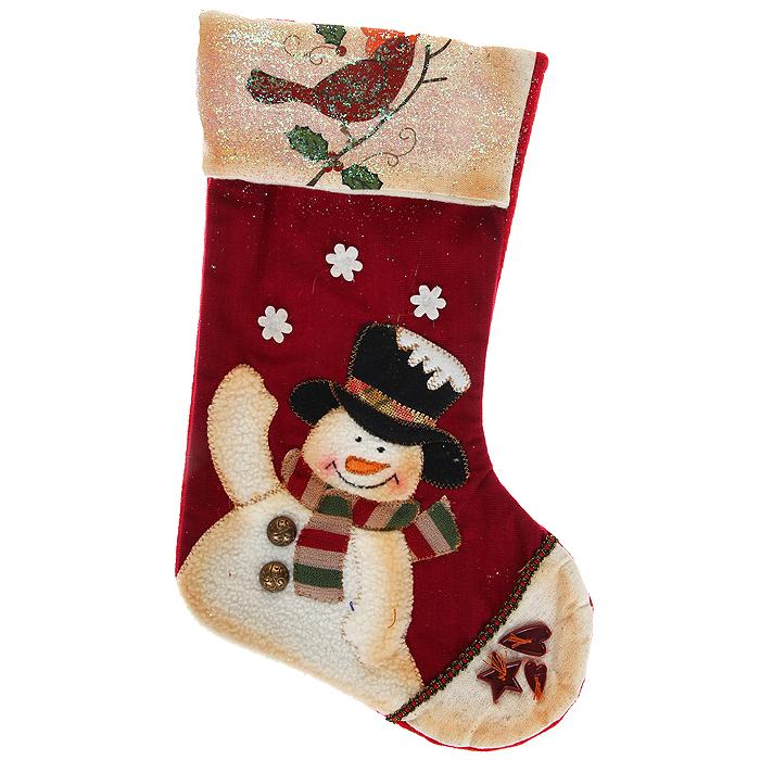 Новогоднее подвесное украшение Носок, цвет: красный, бежевый. 3079730797Оригинальное новогоднее украшение выполнено из текстиля в виде носка для подарков и оформлено аппликацией с изображением снеговика. Носок расшит тесьмой, украшен блестками и декоративными пуговицами. Вы можете подвесить его в любом месте, где оно будет удачно смотреться, и радовать глаз. Кроме того, это украшение - отличный вариант подарка для ваших близких и друзей. Новогодние украшения приносят в дом волшебство и ощущение праздника. Создайте в своем доме атмосферу веселья и радости, украшая всей семьей новогоднюю елку нарядными игрушками, которые будут из года в год накапливать теплоту воспоминаний. Коллекция декоративных украшений из серии Magic Time принесет в ваш дом ни с чем несравнимое ощущение волшебства!