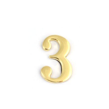 Цифра для обозначения номера квартиры 3, цвет: золотистый67293Цифра 3 для обозначения номера квартиры выполнена из золотистого металла. Устанавливается с помощью липкого слоя, нанесенного на обратную сторону изделия.