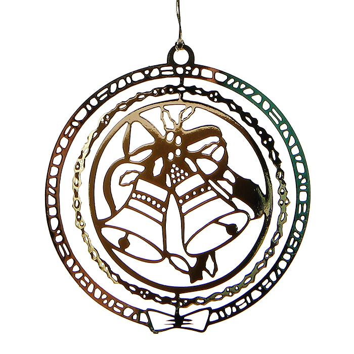 Новогоднее подвесное украшение Колокольчики, цвет: золотистый. 3163331633Оригинальное новогоднее украшение выполнено из черного металла, окрашенного золотистой краской, и оформлено перфорацией в виде колокольчиков. С помощью текстильной петельки изделие можно повесить в любое понравившееся место. Но, конечно, удачнее всего оно будет смотреться на новогодней елке. Елочная игрушка - символ Нового года. Она несет в себе волшебство и красоту праздника. Создайте в своем доме атмосферу веселья и радости, украшая новогоднюю елку нарядными игрушками, которые будут из года в год накапливать теплоту воспоминаний. Характеристики: Материал: металл, текстиль. Цвет: золотистый. Диаметр украшения: 5 см. Размер упаковки: 8 см х 7 см х 2,5 см. Артикул: 31633.