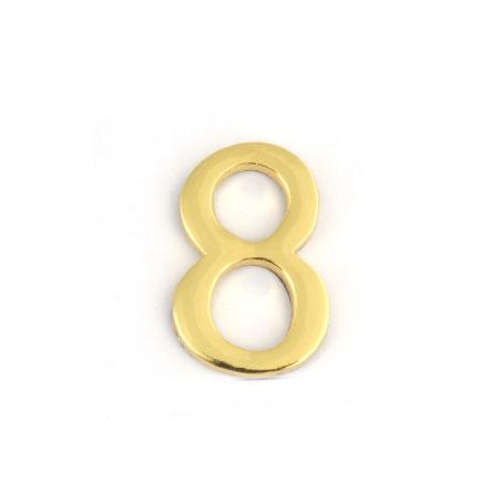 Цифра для обозначения номера квартиры 8, цвет: золотистый67298Цифра 8 для обозначения номера квартиры выполнена из золотистого металла. Устанавливается с помощью липкого слоя, нанесенного на обратную сторону изделия.