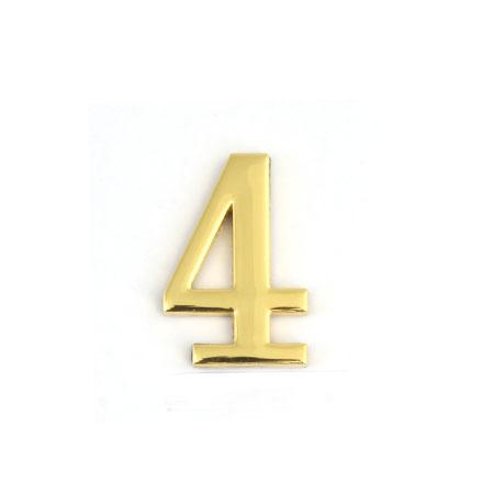 Цифра для обозначения номера квартиры 4, цвет: золотистый67294Цифра 4 для обозначения номера квартиры выполнена из золотистого металла. Устанавливается с помощью липкого слоя, нанесенного на обратную сторону изделия. Характеристики: Материал: металл. Цвет: золотистый. Размер цифры: 3 см х 4,4 см х 0,5 см. Размер упаковки: 12 см х 6 см х 0,7 см. Артикул: 67294.
