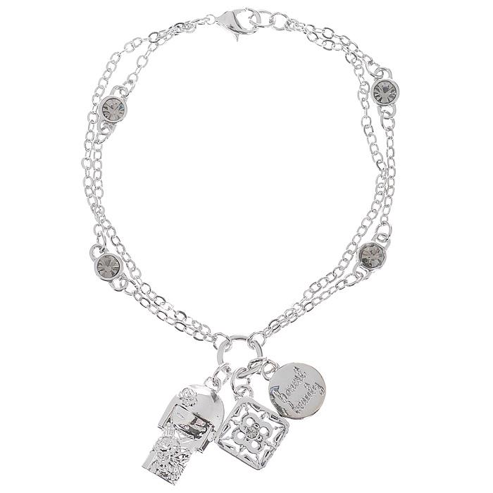 Браслет женский Kimmidoll Наоми (Красота), цвет: серебристый. KF0865KF0865Очаровательный браслет, выполненный с подвеской в виде куколки Наоми и двух дополнительных подвесок из высококачественного металла, оформлен кристаллами Swarovski и упакован в подарочную коробку. Такой браслет с лазерной гравировкой прекрасно подойдет к любому образу. Привет, меня зовут Наоми! Я талисман подлинной красоты. Мой Дух - гордый и вызывающий. Любя себя таким, каким вы есть, и, принимая каждый недостаток и несовершенство, как неотъемлемую часть нашей жизни, ваша честность раскрывает мой красивый и честный дух. Можете всегда гордиться собой, оставаясь самим собой и не меняя своих взглядов. Характеристики: Материал: металл, кристаллы Swarovski. Цвет: серебристый. Обхват браслета: 16 см. Размер подвески-куколки: 1,7 см х 1 см х 0,3 см. Размер упаковки: 9,5 см х 9,5 см х 2 см. Производитель: Китай. Артикул: KF0865.