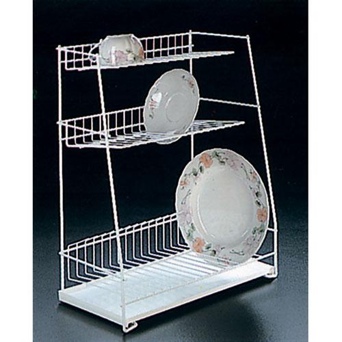 Сушилка для посуды Metaltex с поддоном, настольная, 3 уровня32.43.44Трехуровневая сушилка для посуды Metaltex выполнена из стали с полимерным покрытием белого цвета. Сушилка может быть установлена как на столе, так и подвешена на стену при помощи крючков (не входят в комплект). В комплект входит пластиковый поддон. Характеристики: Материал: сталь с полимерным покрытием, пластик. Цвет: белый. Размер: 44 см x 22 см x 50 см. Артикул: 32.43.44.