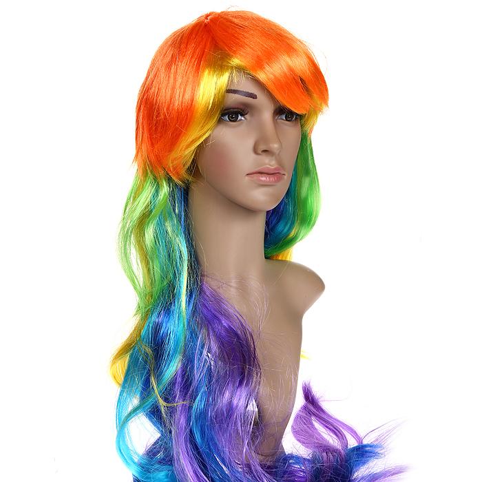 Карнавальный парик Радуга. 3121631216Маскарадный парик выполнен из синтетических волокон в виде длинных волос с яркими разноцветными прядями. В таком парике вы будете выглядеть просто великолепно. Веселое настроение и масса положительных эмоций вам будут обеспечены!