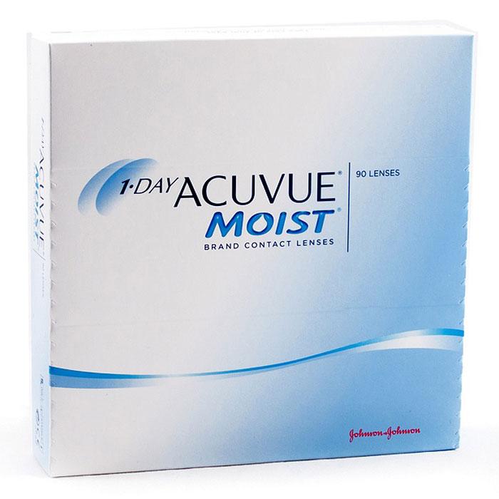 Johnson & Johnson контактные линзы 1-Day Acuvue Moist (90шт / 8.5 / -4.00)12085Контактные линзы 1-Day Acuvue Moist для ежедневной замены от известной компании Johnson & Johnson Vision Care созданы для того, чтобы ваши глаза чувствовали себя увлажненными, а ощущение комфорта и свежести не покидало весь день. Уже исходя из названия (Moist) становится понятно, что при изготовлении линз используется дополнительный увлажнитель, благодаря которому влага удерживается внутри линзы даже в конце дня. Если ваши глаза подвергаются высоким нагрузкам в течение дня, то именно 1-Day Acuvue Moist подойдут вам лучше всего. Они обладают всеми преимуществами однодневных линз: не требуют дополнительных расходов по уходу, комфортны в ношении и так же, как и 1-Day Acuvue, снабжены солнечным фильтром.