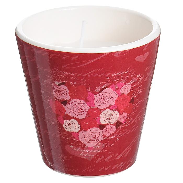 Декоративный подсвечник Сердце, со свечой, цвет: красный. 3130031300Декоративный подсвечник изготовлен из керамики и украшен изображением сердца, составленного из роз. Оригинальный дизайн и красочное исполнение создадут романтическое настроение. С таким украшением вы сможете не просто внести в интерьер своего дома элемент необычности, но и создать атмосферу загадочности и изысканности. Характеристики: Материал: керамика, воск. Цвет: красный. Диаметр подсвечника: 7 см. Высота подсвечника: 7 см. Артикул: 31300.
