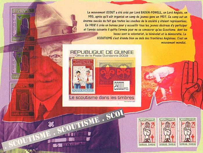 Почтовый блок без зубцов Скаутизм на марках. Гвинея, 2009 годF30 BLUEПочтовый блок без зубцов Скаутизм на марках. Гвинея. 2009 год. Размер марки 5 х 4 см, размер блока 14 х 10,6 см. Сохранность хорошая.