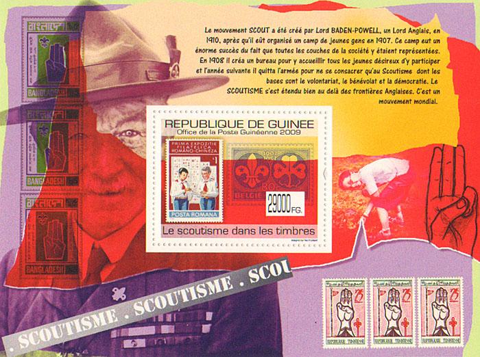 Почтовый блок Скаутизм на марках. Гвинея, 2009 годF30 BLUEПочтовый блок Скаутизм на марках. Гвинея. 2009 год. Размер марки 5 х 4 см, размер блока 14 х 10,6 см. Сохранность хорошая.