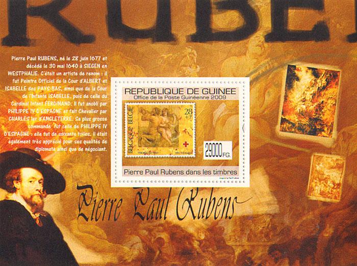 Почтовый блок Рубенс на марках. Гвинея, 2009 годF30 BLUEПочтовый блок Рубенс на марках. Гвинея. 2009 год. Размер марки 5 х 4 см, размер блока 14 х 10,6 см. Сохранность хорошая.