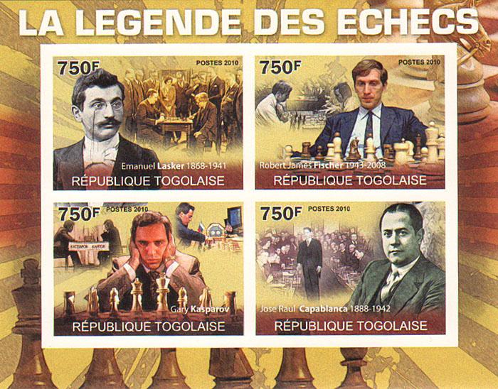 Малый лист без зубцов Легенды шахмат. Того, 2010 годF30 BLUEМалый лист без зубцов Легенды шахмат. Того. 2010 год. Размер листа 9,7 х 12,5 см. Размер марок 3,3 х 4,7 см. Сохранность хорошая.