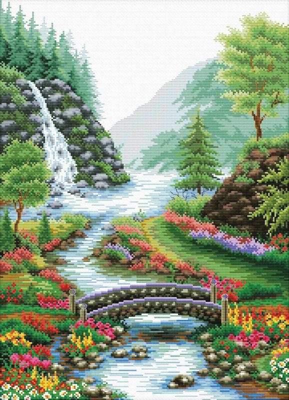 Схема вышивки бисером картины водопад в лесу