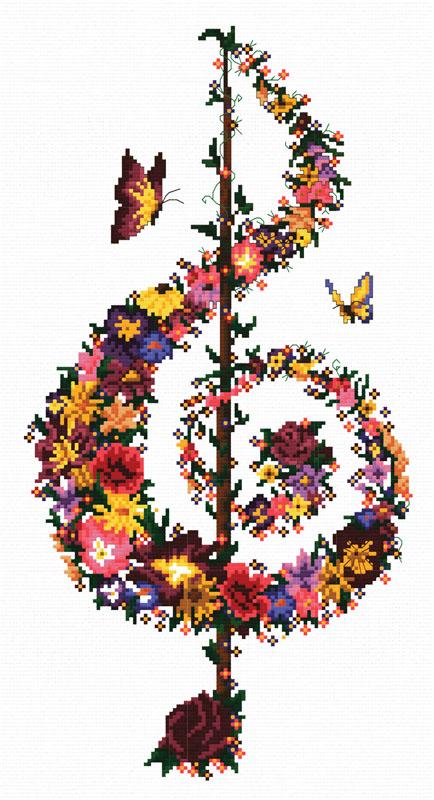 Набор для вышивания крестом Цветочный ключ, 29 х 48 см6029-14 Цветочный ключВ наборе для вышивания крестом Цветочный ключ есть все необходимое для создания роскошной интерьерной картины: обработанная канва Аида 11 белого цвета, хлопковые мулине, цветная символьная схема, 2 иглы, инструкция по вышиванию на русском языке. Необычайной красоты рисунок-вышивка с красочным изображением скрипичного ключа, состоящего из цветочной композиции, привлечет к себе внимание и будет потрясающе смотреться в интерьере вашего помещения, особенно в интерьере детской комнаты. Вышивание крестом отвлечет вас от повседневных забот и превратится в увлекательное занятие! Работа, сделанная своими руками, создаст особый уют и атмосферу в доме, и долгие годы будет радовать вас и ваших близких.