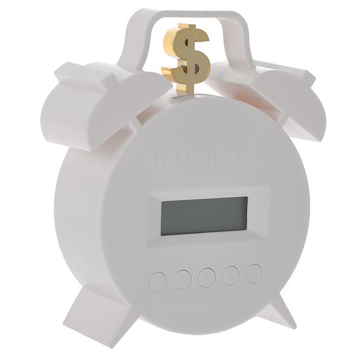 Часы-будильник Брось монетку, цвет: белый94919Часы-будильник Брось монетку выполнены из пластика белого цвета в виде классических часов с золотистым знаком доллара сверху. Часы-будильник являются обычными электронными часами, которые вы можете настроить с помощью панели с кнопками. Вторая функция таких часов - копилка. Заведите будильник на нужное время. Когда он прозвонит, бросьте монетку в специальное отверстие, и сигнал выключится. Такой оригинальный будильник поможет быстро проснуться и к тому же накопить немного денег.
