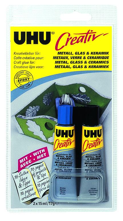 """Клей UHU """"Creativ"""" двухкомпонентный, для металла, стекла и керамики, 2 х 15 мл 47285/47288"""