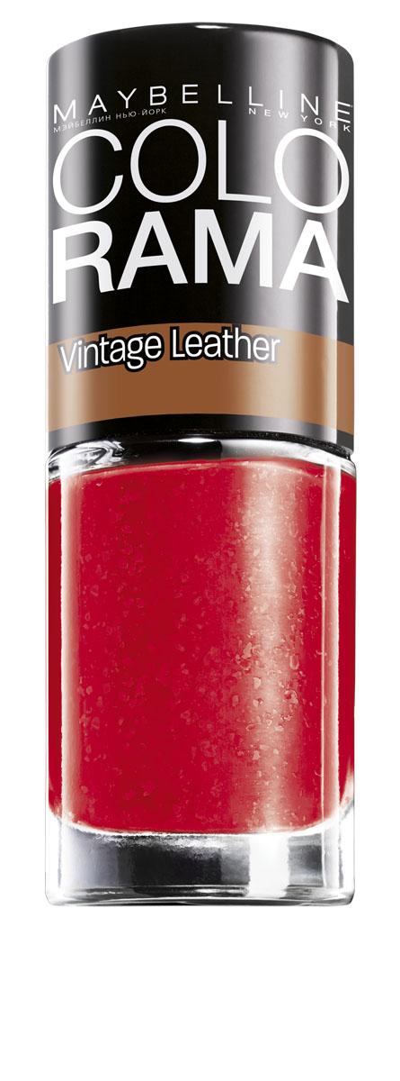 """Maybelline New York Лак для ногтей Colorama, Vintage Leather, оттенок 210, Красная древесина, 7 млB2279300Лаки Colorama из коллекции """"Винтажный деним"""" созданы по специальной формуле. Яркая непрозрачная база и специальные """"выцветшие частички"""" создают эффект выцветшей джинсовой ткани. Никакого сложного нейл-арта, просто выбери оттенок - светло-голубой, небесный, мятный или индиго – покрой им ногти, и оригинальный маникюр готов."""
