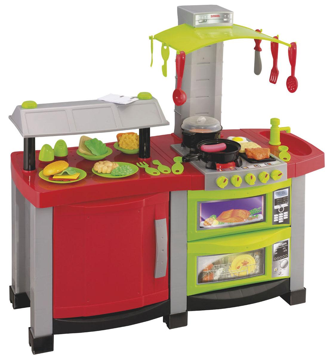 HTI Игровой набор Smart Кухня шеф-повара 39 предметов1680619.00Если ваш ребенок любит помогать маме на кухне, играть с посудой, варить и жарить, но вам приходится ограничивать его в игре с бьющимися предметами кухонной утвари, то эта детская кухня создана специально для юного поваренка. Smart Кухня шеф-повара - многофункциональная кухня ресторанного типа со звуковыми и световыми эффектами. Она состоит из варочной поверхности, духовки и посудомоечной машины, раковины, холодильника и сервировочной стойки. В набор входят аксессуары для игры: меню и бланки заказов, 2 глубоких тарелочки, 2 плоских тарелочки, 2 ложки, 2 вилки, 2 столовых ножа, нож для резки мяса, солонка и перечница, половник, лопатка для переворачивания, шумовка, сковорода, кастрюля с крышкой, продукты: кусок мяса, ростбиф, яичница глазунья, сосиска, 2 тоста для бутербродов, листья салата, бекон (нарезка), сыр, макароны, зеленый горошек, картофель фри, фасоль, булочка. Реалистичные звуки сделают игру еще интереснее. При включении конфорки раздается звук электроподжига...