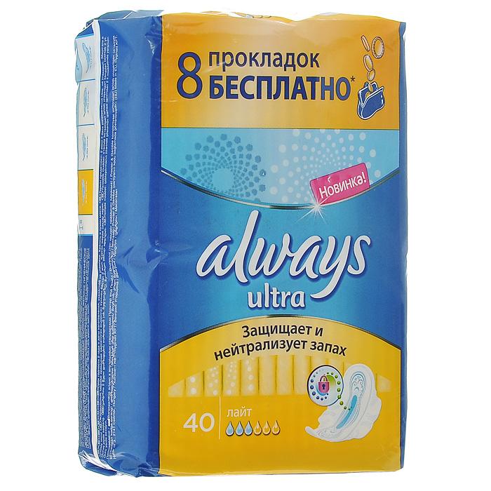"""Always Женские гигиенические прокладки с крылышками """"Ultra. Light"""", 40 шт"""