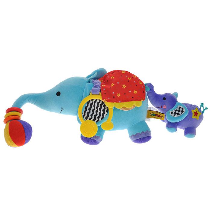 Развивающая мягкая игрушка Слоники875011Развивающая мягкая игрушка Слоники привлечет внимание вашего малыша и не позволит ему скучать! Игрушка выполнена из текстильного материала разных цветов и фактур в виде слоника со слоненком. Ушки слоника шуршат, на хобот нанизаны три пластиковых колечка, которые малыш с удовольствием будет вращать и передвигать из стороны в сторону. На конце хобота крепится разноцветный шарик с пищалкой внутри. Под накидкой на спине слоника с одной стороны прячется круглое зеркальце, в которое кроха сможет любоваться своим отражением, с другой стороны - прозрачная, вращающаяся сфера. Внутри нее находятся разноцветные маленькие шарики и пластиковый цветочек. Если покрутить сферу или потрясти игрушку, то они будут весело греметь, что, несомненно, позабавит малыша. Внутри слоненка спрятана пищалка. Он держится за хвост слона своим маленьким хоботом. Если его потянуть назад, то игрушка начнет вибрировать до тех пор, пока хвост не вернется в исходное положение. С помощью пластикового...