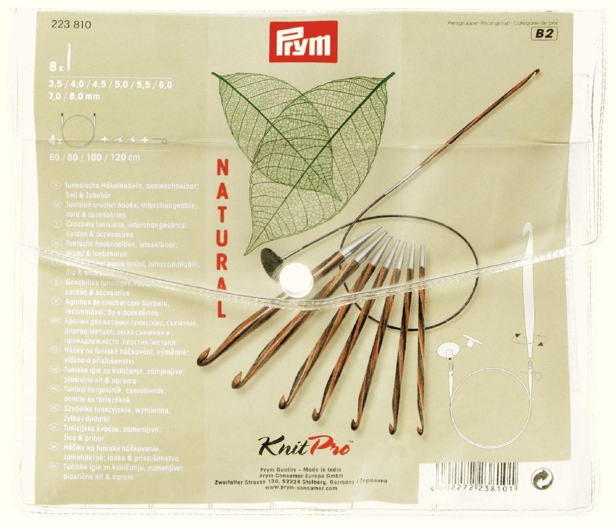 Набор туниских крючков для вязания Prym, 8 шт223810Набор туниских крючков для вязания включает в себя 8 крючков с деревянной ручкой размером от 3,8 до 8 и 4 лески длиной 60 см, 80 см, 100 см, 120 см. Очень удобно покупать набор крючков - у вас всегда под руками крючки различных размеров и Вы справитесь с любой схемой для вязания.
