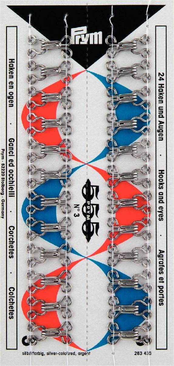 Набор крючков и петель Prym №3, цвет: серебристый, 24 шт263433Набор крючков и петель Prym состоит из 24 пар. Предназначены для пришивания к одежде. Изготовлены из качественной латуни с защитой от коррозии.