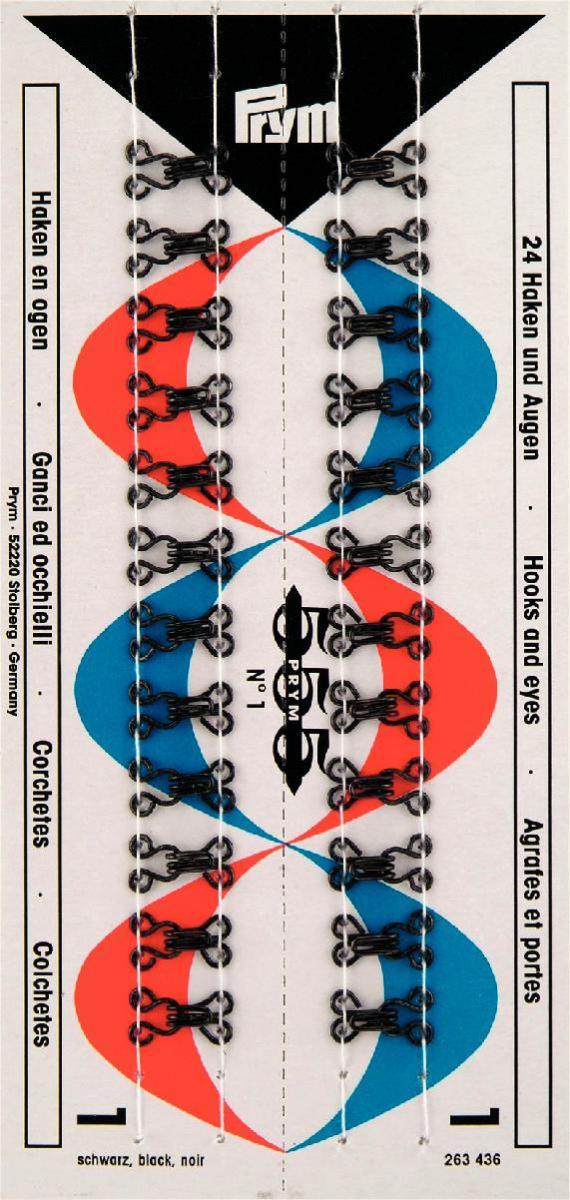 Набор крючков и петель Prym №1, цвет: черный, 24 шт263436Набор крючков и петель Prym состоит из 24 пар. Предназначены для пришивания к одежде. Изготовлены из качественной латуни с защитой от коррозии.
