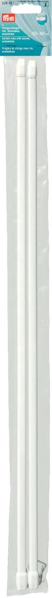 Штанги для витражей и окон Prym, телескопические, длина 60-90 см, 2 шт526451Длина варьируется по ширине окна, что очень удобно и функционально. Идеальны для пластиковых и деревянных окон, когда нет возможности или желания занавешивать окно гардиной. В комплекте идут крючки с резьбой для крепления витражного карниза. Характеристики: Материал: металл, пластик. Длина: 60 см - 90 см. Количество в упаковке: 2 шт. Размер упаковки: 61 см х 5 см х 1 см.