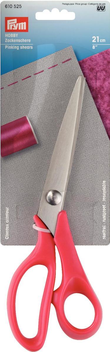 Ножницы Prym Хобби зиг-заг для шитья, 21см610525Легкие и удобные в использовании ножницы Хобби изготовлены из закаленной нержавеющей стали, содержащей хром, не деформируются. Данные ножницы во многих случаях смогут Вам заменить оверлок, т.к. срез с помощью этих ножниц делает ткань не сыпучей и не распускающейся. Ручки изготовлены из термостойкой пластмассы.