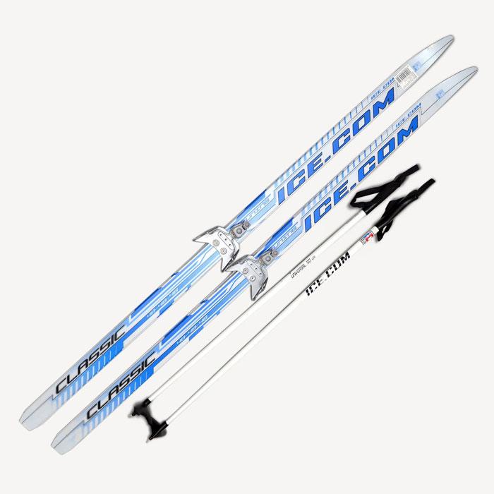 Лыжный комплект Ice.com Classic step, цвет: синий, крепление 75 мм. Длина 150 смCLS75P 150Лыжный комплект Ice.com Classic step (с насечкой) предназначен для активного катания и прогулок по лыжне как классическим стилем, так и коньковым (свободным) ходом. Особенности: Скользящая поверхность из экструдированного полиэстера; Облегченный деревянный клин c воздушными каналами; Модель со степ насечкой, не требующей нанесения мазей; Палки 100% углеволокно; Крепление 75 мм.