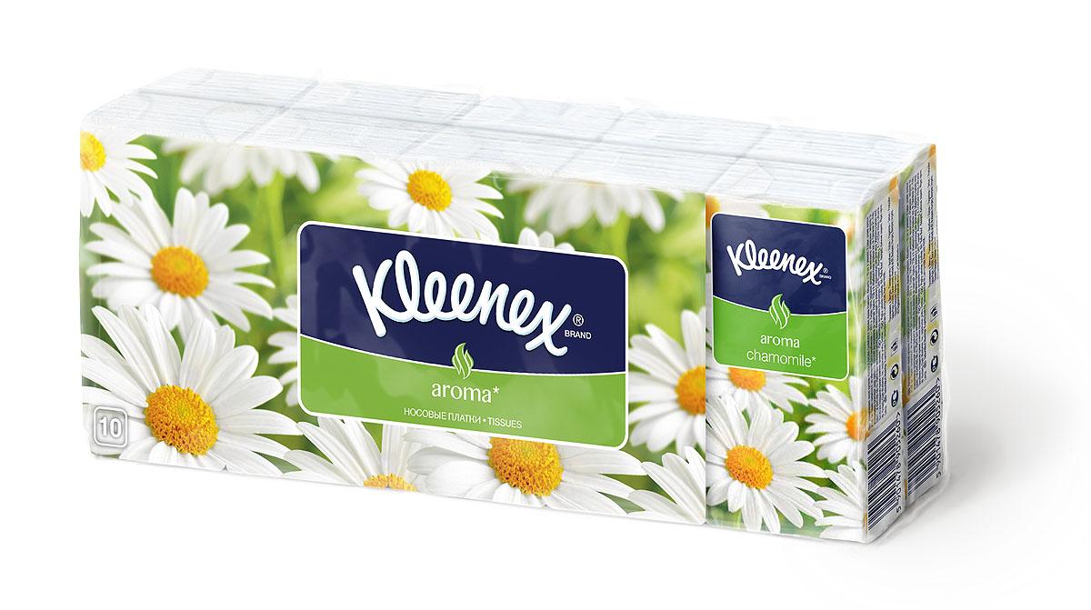 Kleenex Бумажные платочки Ромашка, ароматизированные, 10 х 10 шт9470130Мягкие платочки Kleenex с приятным запахом ромашки напомнят вам о лете и помогут бороться со стрессами и плохим настроением.
