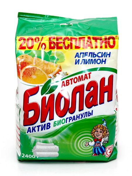 Стиральный порошок Биолан Апельсин и лимон, 2,4 кг73-4Стиральный порошок Биолан Апельсин и лимон предназначен для стирки, замачивания и отбеливания изделий из хлопчатобумажных, льняных, синтетических тканей, а также тканей из смешанных волокон. Не предназначен для стирки изделий из шерсти и натурального шелка. Порошок имеет пониженное пенообразование, содержит биодобавки и перекисные соли. Благодаря активным биогранулам эффективно отстирывает загрязнения. Придает белью ослепительную белизну и неповторимую свежесть цитрусовых. Подходит для стиральных машин любого типа и ручной стирки. Характеристики: Вес: 2,4 кг. Артикул: 73-4. Товар сертифицирован.