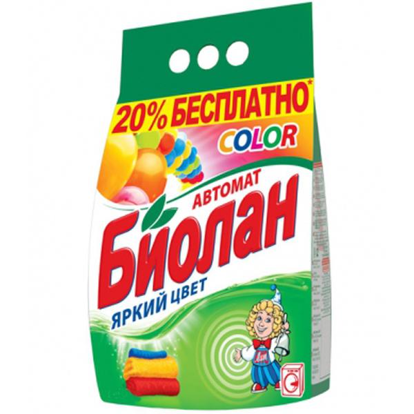 Стиральный порошок Биолан Color, 1,2 кг - Биолан106-4Стиральный порошок Биолан Color предназначен для стирки и замачивания изделий из цветных хлопчатобумажных, льняных, синтетических тканей, а также тканей из смешанных волокон. Не предназначен для стирки изделий из шерсти и натурального шелка. Порошок имеет пониженное пенообразование, содержит биодобавки. Благодаря активным биогранулам эффективно отстирывает загрязнения, не повреждая структуру ткани. Сохраняет цвет и яркость ваших вещей. Подходит для стиральных машин любого типа и ручной стирки.