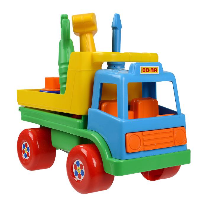Игровой набор Техпомощь, в ассортименте6387Игровой набор Техмомощь позволит вашему ребенку почувствовать себя одновременно и водителем грузовика и автослесарем. Набор включает в себя грузовик и инструменты, необходимые для его ремонта в дороге - молоток, гаечный ключ и отвертку. С помощью молотка можно забивать гвозди, а с помощью гаечного ключа закрутить или открутить гайки, расположенные в кузове автомобиля. Там же имеются отверстия для инструментов, куда их можно поместить после окончания ремонта и продолжить путь. Машинка оснащена четырьмя широкими пластиковыми колесами со свободным ходом. Ваш ребенок часами будет играть с набором, придумывая различные истории. Порадуйте его таким замечательным подарком!