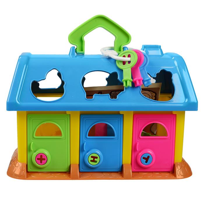 Игрушка-сортер Домик для зверей, цвет: голубой, зеленый, красныйП-9166Яркая игрушка-сортер Домик для зверей надолго займет внимание вашего ребенка! Она выполнена из прочного безопасного пластика разных цветов и представляет собой дом с окошками и тремя дверками. В крыше домика имеются шесть отверстий в виде различных животных. Задача малыша состоит в том, чтобы опустить формочки, входящие в комплект, в соответствующие им отверстия. Когда все животные окажутся в домике, их можно извлечь, открыв двери. Каждая дверь закрыта на замочек, ключик к которому нужно подобрать. Цвет подходящего ключа соответствует цвету замка в двери. На каждую формочку можно поместить наклейку с изображением соответствующего животного. Игрушка-сортер Домик для зверей способствует развитию у малыша мелкой моторики рук, координации движений, знакомит с понятиями цвета, формы и размера предмета. Характеристики: Материал: пластик ,бумага. Размер домика: 28 см х 15 см х 18 см. Средний размер формочки: 4,5 см х 4,5 см х 2 см.