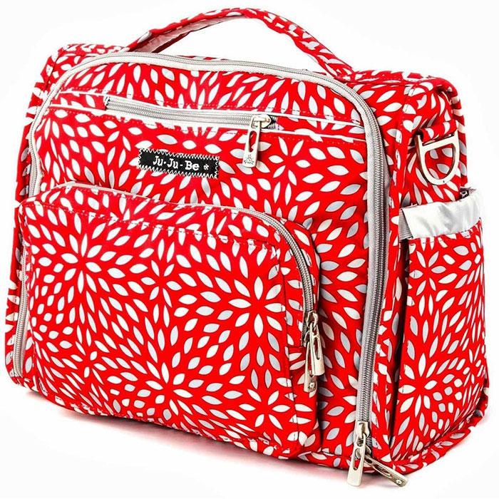 Ju-Ju-Be Сумка-рюкзак для мамы BFF Scarlet Petals цвет красный серебристый серый09FM02A-9475Сумка для мамы Ju-Ju-Be B.F.F. Scarlet Petals станет незаменимым аксессуаром для прогулок с ребенком на свежем воздухе, для визитов к врачу, похода в гости или по магазинам, а также во время поездок. Она выполнена из мягкого прочного материала с тефлоновым покрытием. Сумка имеет одно вместительное отделение и закрывается на застежку-молнию. Удлиненные молнии по бокам позволяют быстро и легко открыть сумку до самого основания. Внутри отделения находятся широкий карман на молнии, четыре кармана без застежек и два кармашка на молнии. Так же в нем находятся два прозрачных пластиковых кармашка - любимые фотографии будут всегда с вами. Светлая, яркая атласная подкладка с антимикробным покрытием (AgION) позволит найти вещи легко и быстро. На лицевой стороне сумки расположен большой внешний карман, закрывающийся на застежку-молнию. Внутри него находятся два кармашка без застежек, карман для очков, кармашек на молнии, а также на резинке закреплен карабин для ключей. Вы...