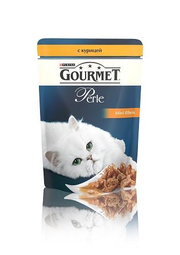 Консервы для кошек Gourmet Perle, мини-филе с курицей, 85 г12222445Ваша кошка - настоящий гурман, и порой ей сложно угодить. Корм Gourmet Perle - это изысканное угощение с превосходным вкусом, которым ваша кошка будет наслаждаться каждый день. Ваш гурман оценит нежнейшие кусочки с мясом или рыбой, приготовленные в аппетитном соусе. Корм Gourmet Perle - изысканное угощение на каждый день. Рекомендации по кормлению: Суточная норма: 3-4 пакетика в день для взрослой кошки (средний вес 4 кг), в два приема. Данная суточная норма рассчитана для умеренно активных взрослых кошек, живущих в условиях нормальной температуры окружающей среды. В зависимости от индивидуальных потребностей кошки норма кормления может быть скорректирована для поддержания нормального веса вашей кошки. Подавайте корм комнатной температуры. Следите, чтобы у вашей кошки всегда была чистая, свежая питьевая вода. Условия хранения: Закрытый пакетик хранить в сухом прохладном месте. После открытия продукт хранить в холодильнике...