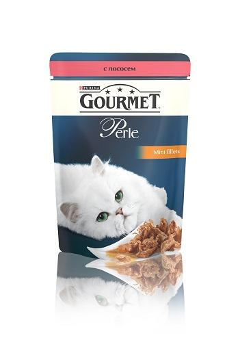 Консервы для кошек Gourmet Perle, мини-филе с лососем, 85 г12222480Ваша кошка - настоящий гурман, и порой ей сложно угодить. Корм Gourmet Perle - это изысканное угощение с превосходным вкусом, которым ваша кошка будет наслаждаться каждый день. Ваш гурман оценит нежнейшие кусочки с мясом или рыбой, приготовленные в аппетитном соусе. Корм Gourmet Perle - изысканное угощение на каждый день. Рекомендации по кормлению: Суточная норма: 3-4 пакетика в день для взрослой кошки (средний вес 4 кг), в два приема. Данная суточная норма рассчитана для умеренно активных взрослых кошек, живущих в условиях нормальной температуры окружающей среды. В зависимости от индивидуальных потребностей кошки норма кормления может быть скорректирована для поддержания нормального веса вашей кошки. Подавайте корм комнатной температуры. Следите, чтобы у вашей кошки всегда была чистая, свежая питьевая вода. Условия хранения: Закрытый пакетик хранить в сухом прохладном месте. После открытия продукт ...