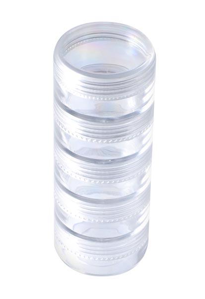 Органайзер для хранения бисера, круглый, 5 отделенийBО-051Органайзер для хранения бисера изготовлен из прозрачного пластика, состоит из пяти небольших круглых отделений. Каждое отделение имеет плотно закрывающуюся крышку. С таким органайзером процесс рукоделия станет еще более комфортным и интересным.