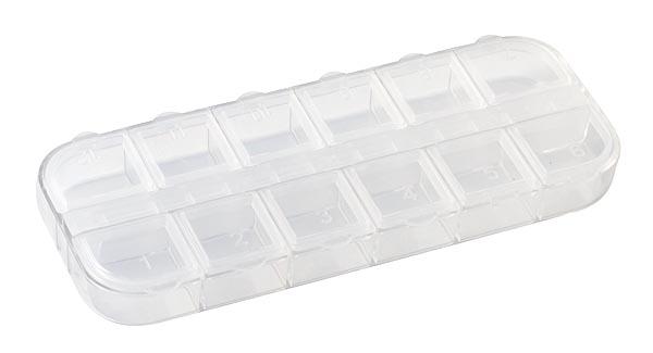 Органайзер для хранения бисера, 12 отделенийBO-110Органайзер для хранения бисера изготовлен из прозрачного пластика, состоит из 12 небольших квадратных отделений. Каждое отделение пронумеровано и имеет плотно закрывающуюся крышку. С таким органайзером процесс рукоделия станет еще более комфортным и интересным.