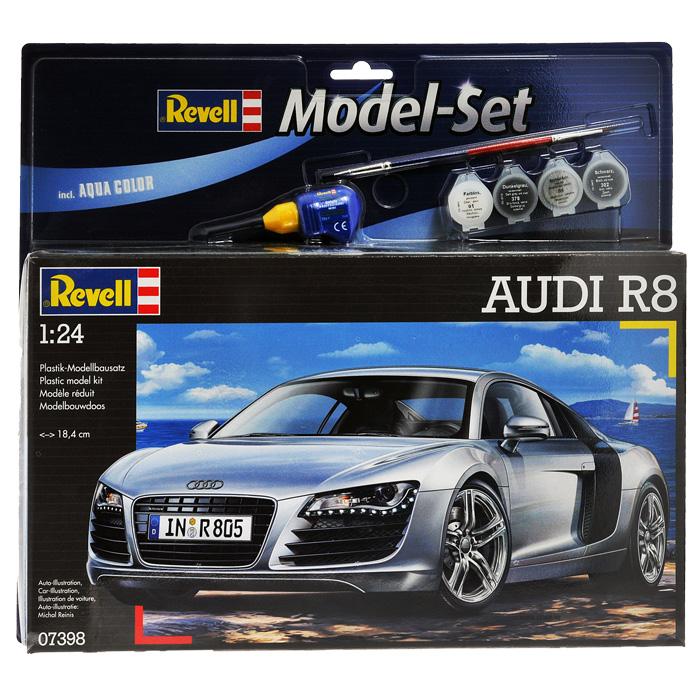 Набор для сборки и раскрашивания модели Revell Автомобиль Audi R867398С помощью набора Revell Автомобиль Audi R8 вы и ваш ребенок сможете собрать уменьшенную копию одноименного немецкого автомобиля и раскрасить ее. Набор включает в себя 106 пластиковых элементов для сборки модели, краски четырех цветов, клей, двустороннюю кисточку и схематичную инструкцию по сборке. Благодаря набору ваш ребенок научится пространственно мыслить, различать цвета, творчески решать поставленные задачи, разовьет мелкую моторику рук, внимание, терпение, кругозор и мышление.