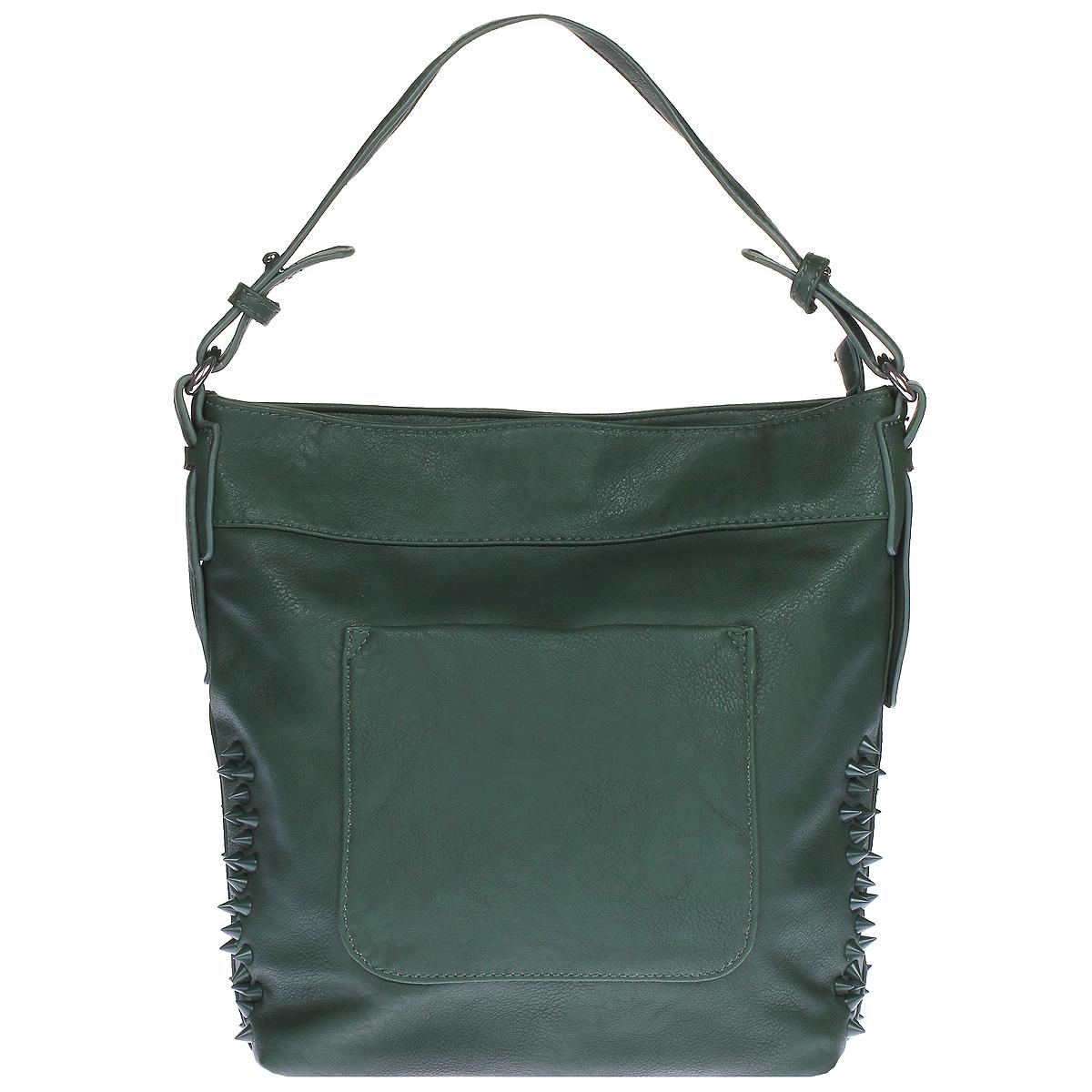 Сумка женская Orsa Oro, цвет: зеленый. D-757D-757 изумрудЖенская сумка Orsa Oro выполнена из искусственной кожи зеленого цвета. Сумка состоит из одного вместительного отделения, которое закрывается на застежку-молнию. Внутри - вшитый карман на молнии и два накладных кармана, один из которых предназначен для телефона, другой - для прочих мелочей. По бокам сумка декорирована пластиковыми шипами. На задней стороне сумки также расположен вшитый карман на молнии. На лицевой стороне сумки имеется дополнительный карман закрывающийся на магнитную кнопку. Сумка оснащена удобной ручкой и съемным регулирующим длину плечевым ремнем. К сумке прилагается чехол для хранения. Сумка - это стильный аксессуар, который подчеркнет вашу изысканность и индивидуальность и сделает ваш образ завершенным.