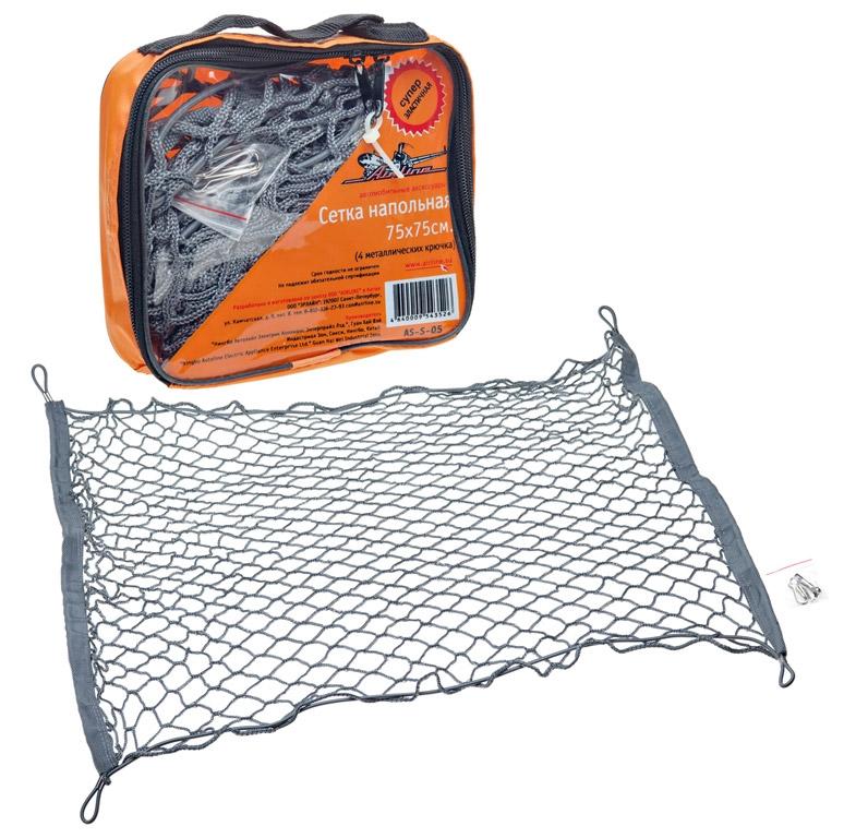 AIRLINE Сетка напольная, 75 см х 75 см, 4 крючкаAS-S-05Напольные сетки надежно прижимают груз к полу багажника, что исключает перемещение груза, в результате отсутствует шум, обычно возникающий при движении автомобиля. Характеристики: Материал: металл, резина, текстиль. Количество крючков: 4 шт. Размер сетки: 75 см х 75 см. Размер упаковки: 20 см х 17 см х 5 см.