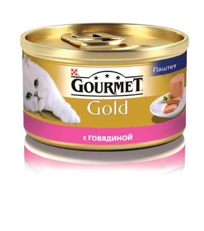 Консервы для кошек Gourmet Gold, паштет с говядиной, 85 г12215249Корм Gourmet Gold консервированный полнорационный для взрослых кошек. Рекомендации по кормлению: кормите кошку 2 раза в день из расчета 4 банки в день. Индивидуальные потребности животного могут отличаться, поэтому норма кормления должна быть скорректирована для поддержания оптимального веса вашей кошки. Для беременных и кормящих - кормление без ограничений. Давайте корм комнатной температуры. Следите, чтобы у вашей кошки всегда была чистая, свежая питьевая вода. Хранить в сухом прохладном месте. Состав: мясо и продукты переработки мяса (говядины мин.4%), продукты переработки злаков, минеральные вещества, сахара, витамины. Добавленные вещества МЕ/кг: Витамин А: 1440; витамин D3: 220 мг/кг: железо: 10; йод: 0,2; медь: 0,9; марганец: 1,9; цинк: 10. Гарантируемые показатели: влажность 77%, белок 11%, жир 7%, сырая зола 3%, сырая клетчатка 0,1%. Вес: 85 г. Товар сертифицирован.