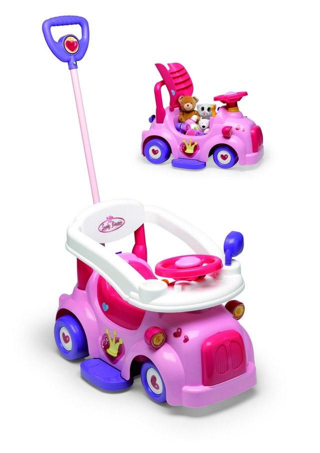 Каталка детская Трансформер, цвет: розовый, фиолетовый - Chicos35682Каталка Трансформер 3 в 1: машина, каталка, манеж станет первым автомобилем для Вашего ребенка. Каталка удобная и маневренная, кроме того, сидение у нее поднимается. Под сидением вместительное отделение, куда можно положить любимые игрушки. Ребенок садится и, отталкиваясь ножками от пола, катится. На первом этапе Вы сами покатаете малыша. Для этого есть съемная ручка и защитный бортик. А когда ребенок научится кататься, Ваша помощь уже не потребуется. Машинка легка в управлении. Каталка сделана из ударопрочного пластика, а колеса отлично ездят и по асфальту, и по линолеуму. Замечательный подарок для девочки от 10 месяцев. Установите ручку и защитный бортик и покатайте Вашу принцессу.