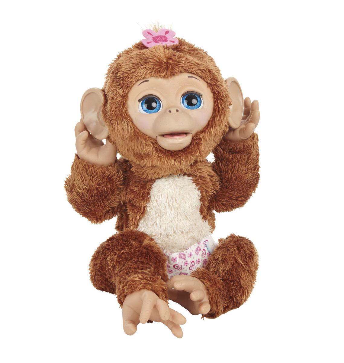 FurReal Friends Интерактивная игрушка Смешливая обезьянкаA1650E24Анимированная игрушка FurReal Friends Смешливая обезьянка привлечет внимание не только ребенка, но и взрослого. Эта симпатичная коричневая обезьянка с большими голубыми глазками и розовым цветочком на голове очень любит, когда ее начинают щекотать, при этом она весело смеется. Обезьянка двигает губами, когда ее кормят из бутылочки, выполненной в виде банана. После кормления важно поменять подгузник. Покачав обезьянку на руках, можно увидеть, как она закрывает глазки и засыпает. Ваш ребенок сможет заботиться о ней, как о настоящем малыше! Благодаря небольшому размеру игрушку можно брать с собой в гости или на прогулку.
